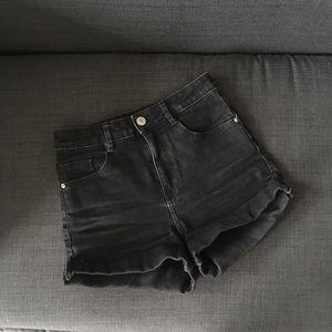 high-waist jean shorts/ petite